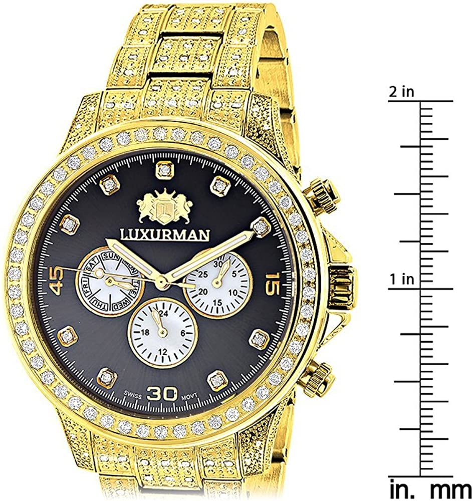 Fully Iced Out Mens Diamond Watch 3ct Yellow Gold Plt