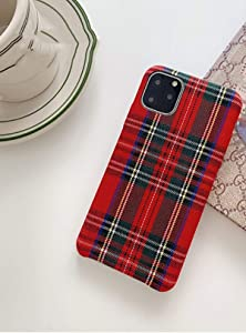 Mixneer Warm Flannel Plaid Cloth Phone Case Simple Plush Fabric Phone Case Compatible with iPhone 11 12 Mini Pro Max SE 2020 7 8 6 6S Plus XR X XS Cover (Compatible with iPhone xr, red)