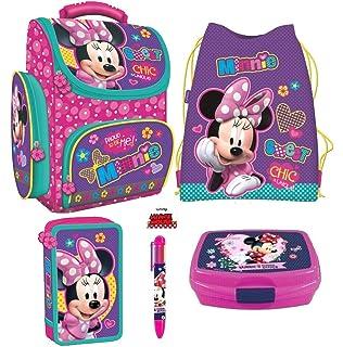 616c9376fa1dd Disney Minnie Mouse Maus Schulranzen Tornister Schulrucksack Schultasche  Ranzen Set 5 Teilig inklusive Sticker v Kids4shop