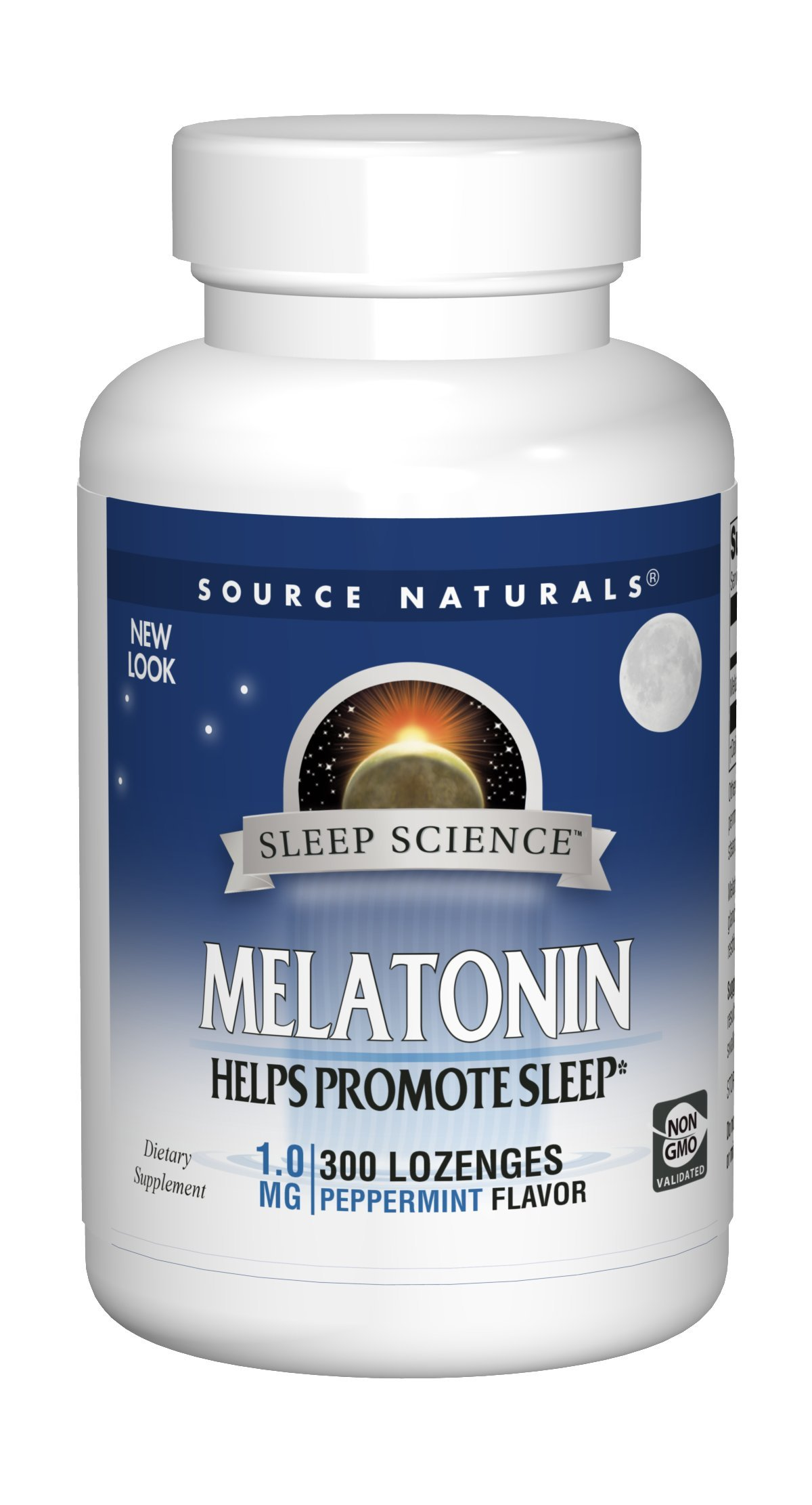 Source Naturals Melatonin 1mg, Peppermint, for Occasional Sleeplessness, 300 Sublingual Lozenges