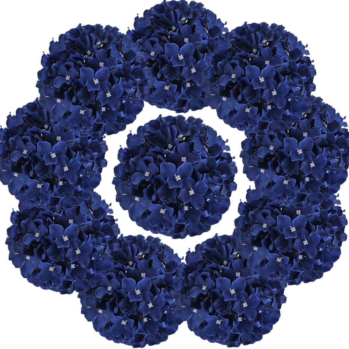 Flojery Silk Hydrangea Heads Artificial Flowers Heads with Stems for Home Wedding Decor,Pack of 10 (Royal Blue)