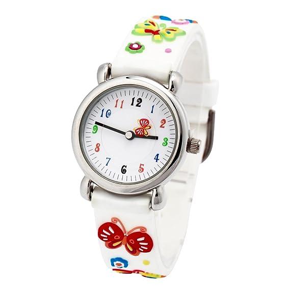 El Reloj de Niños de Vinmori, Reloj de Cuarzo con Dibujos Animados Bonitos de 3D a Prueba de Agua Regalo para Chicos Niños y Niñas Mariposa Blanca: ...