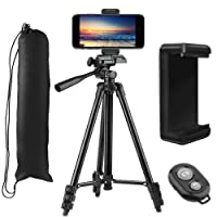 "PEMOTech Phone Tripod [Upgraded Thicker Legs], 51"" Inch Aluminum Tripod +Phone Holder Mount +Bluetooth Remote Shutter +Bag Compatible for iPhone XR/Xs Max/X 8/7/6/6S/Plus Samsung Note 9/S9 Stabilizer"