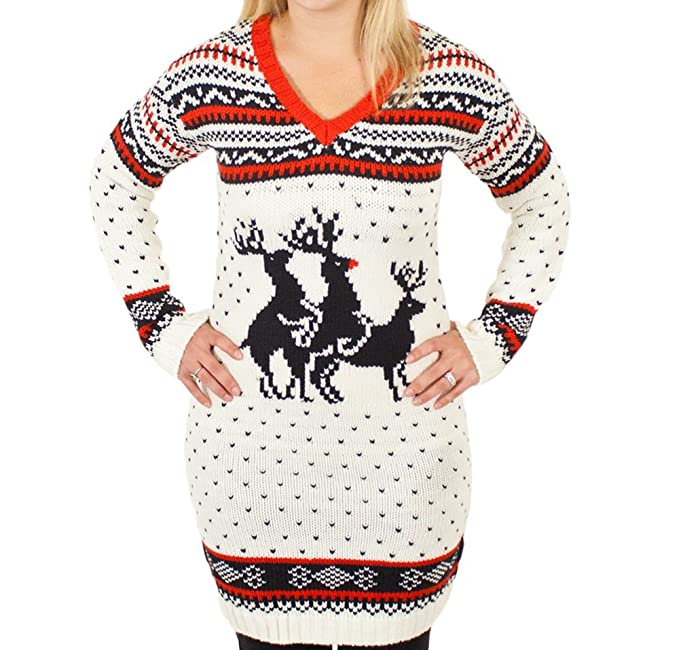 8fa00258f3f3 Ugly Christmas Sweater - Reindeer Threesome Naughty Sweater Dress in ...