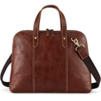 Kattee Unisex Genuine Leather Tote Shell-Shape 14 Laptop Briefcase Handbag (Light Brown)
