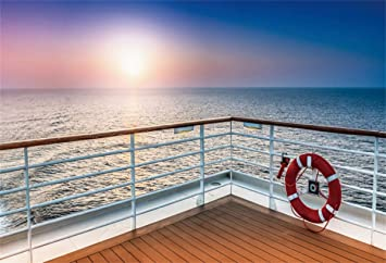 Deck View Backdorp 7x5ft Seascape Photography Backgroud Blue Sky Ocean Cruise Ship Summer Holiday Party Sailling Fishing Adult Photo Potraits Artistic Studio Props
