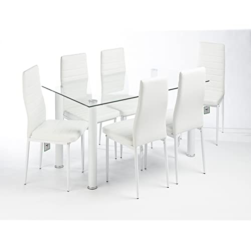 UKCOFFEETABLES MODERN GLASS DESIGNED CONTEMPORARY DINING TABLE SET 6 FAUX  LEATHER CHAIRS (WHITE CLEAR TABLE