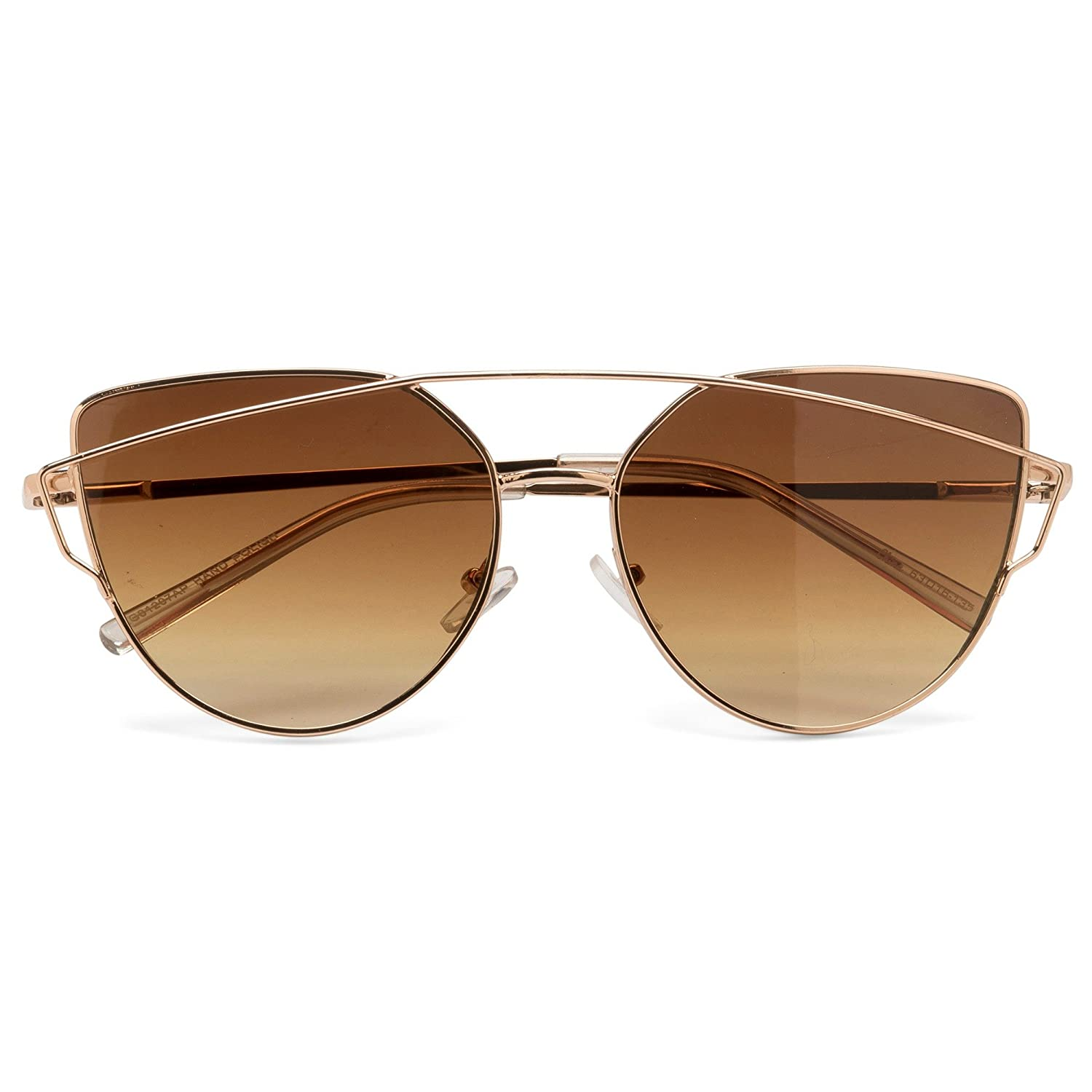NEW TRENDY OVERSIZED MULTICOLOR CAT EYE FLAT LENS SEE THROUGH LARGE SUNGLASSES