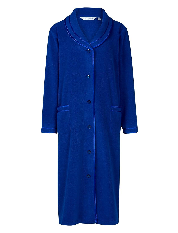 Slenderella Ladies Anti Pill Button Up Dressing Gown Satin Trim Polar Fleece Bath Robe (3 Colours)
