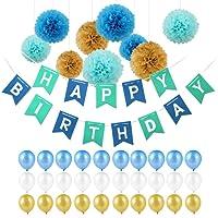 """Décoration Anniversaire, Pomisty Happy Birthday Décoration 40 Pièces Inclus 30 Ballons + 9 Pompoms + Banderoles + 1 banderole """"HAPPY BIRTHDAY"""" Décoration Fête Mariage Anniversaire (Bleu) …"""