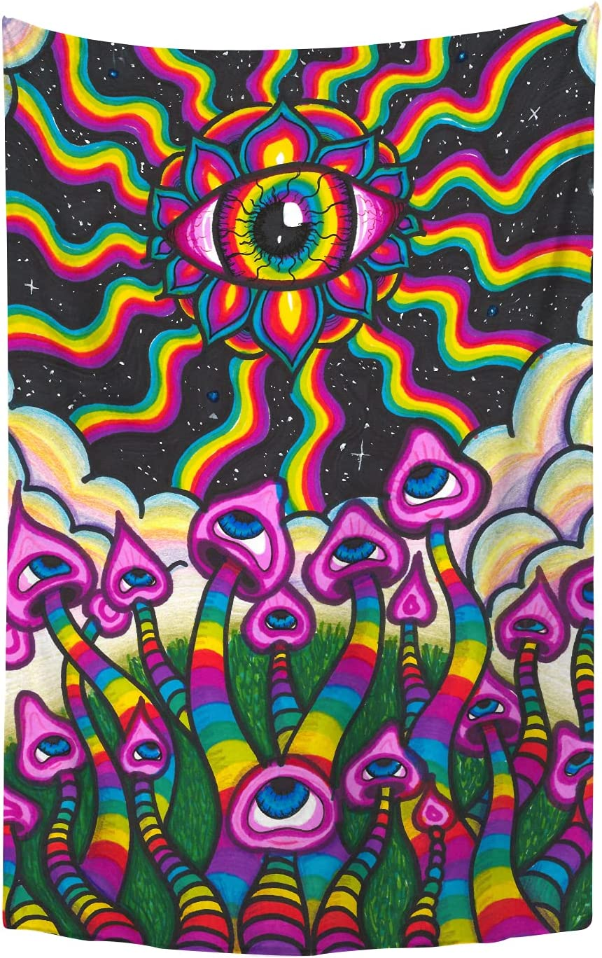 YongColer Art Mushroom Alien Eye Cool Aesthetic Wall Hanging, Psychedelic Trippy Wall Tapestry Hippie for Bedroom Dorm Decor, 40x59.8 Inches