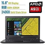 Acer Aspire E 15.6-inch HD (1366x768) Laptop PC, AMD A9-9410 2.9GHz Processor, 8GB DDR4 SDRAM, 240GB SSD, AMD Radeon R5 Graphics, 802.11ac, HDMI, Bluetooth, Webcam, DVD±RW, Windows 10