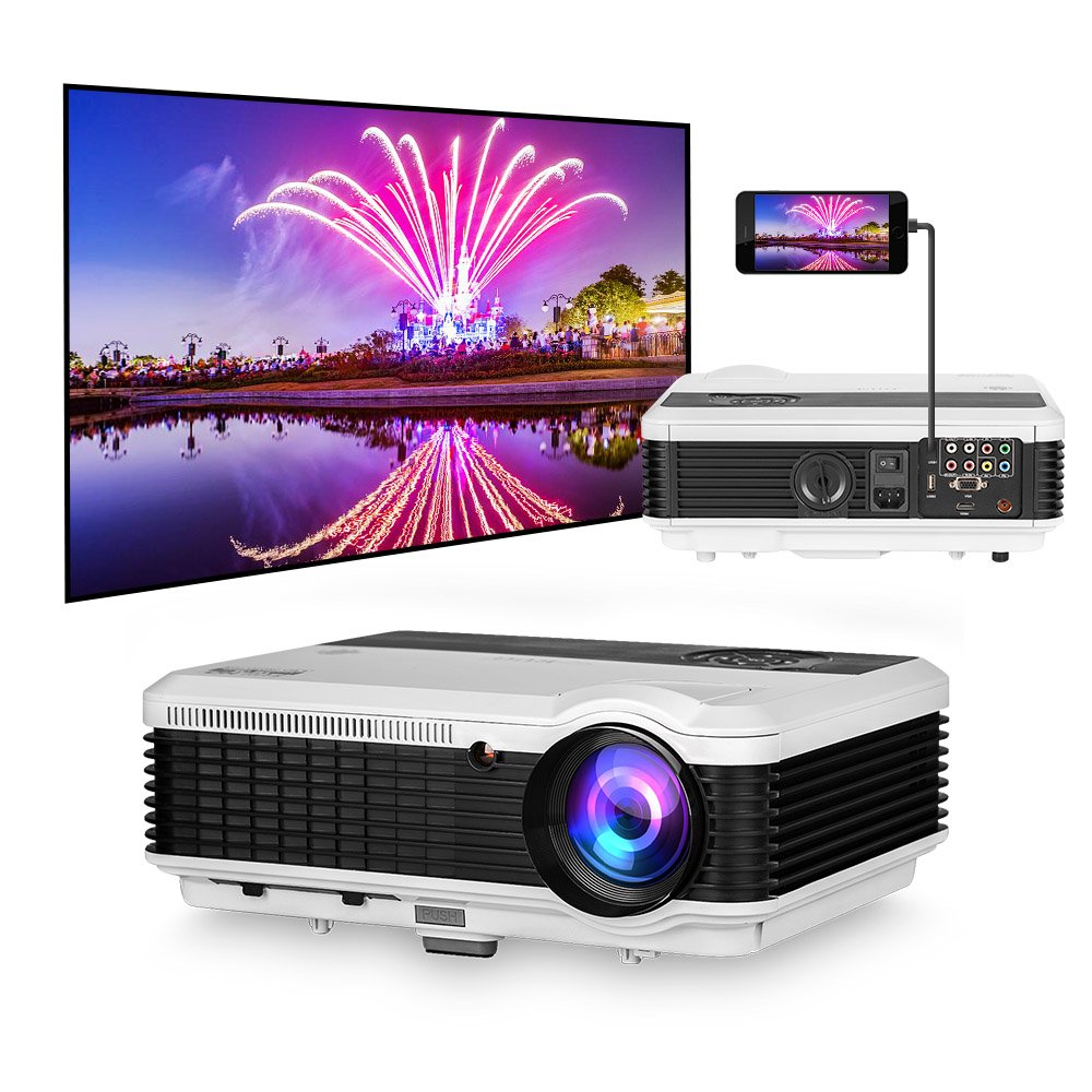 Mirror Projector HDMI USB HD Multimedia Home Theater Projectors 1280x800 WXGA Video Projector for iPhone iPad Samsung Galaxy Moto LG Laptop Mac Windows PC Blueray DVD Player Movies PS4 Xbox Wii Games