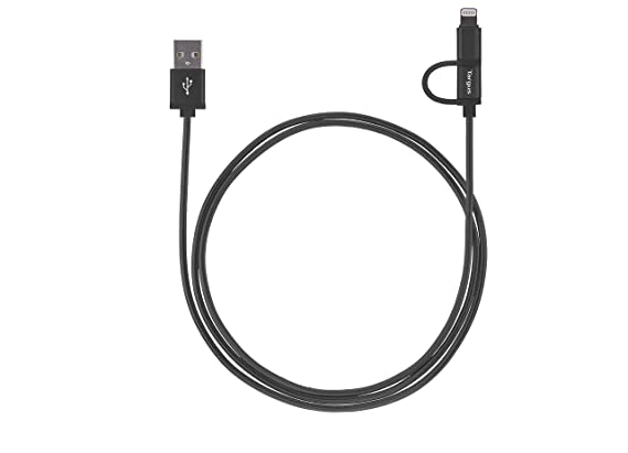 Targus ACC995 Aluminum Series 2-in-1 Lightning and Micro USB Weave Cable (Dark Grey) USB Cables at amazon