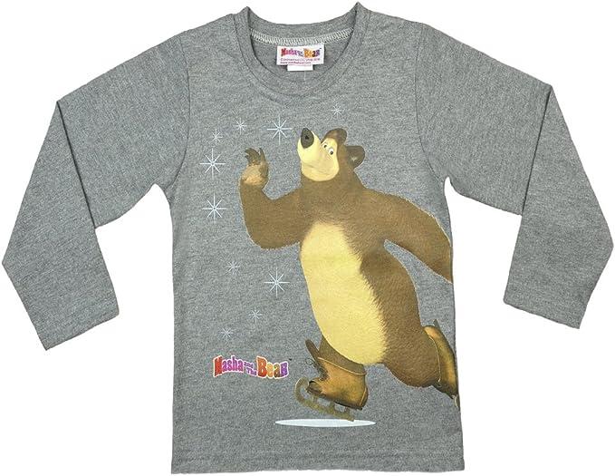 Camiseta de manga larga para niño de la serie Mascha y el oso, parte superior de