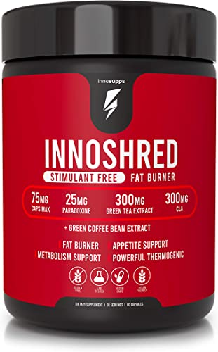 Inno Shred Thermogenic Fat Burner Stimulant Free – Advanced Weight Loss Supplement, Appetite Suppressant – 75mg Capsimax, Grains of Paradise, Zero Caffeine, Green Tea Extract – 60 Veggie Capsules