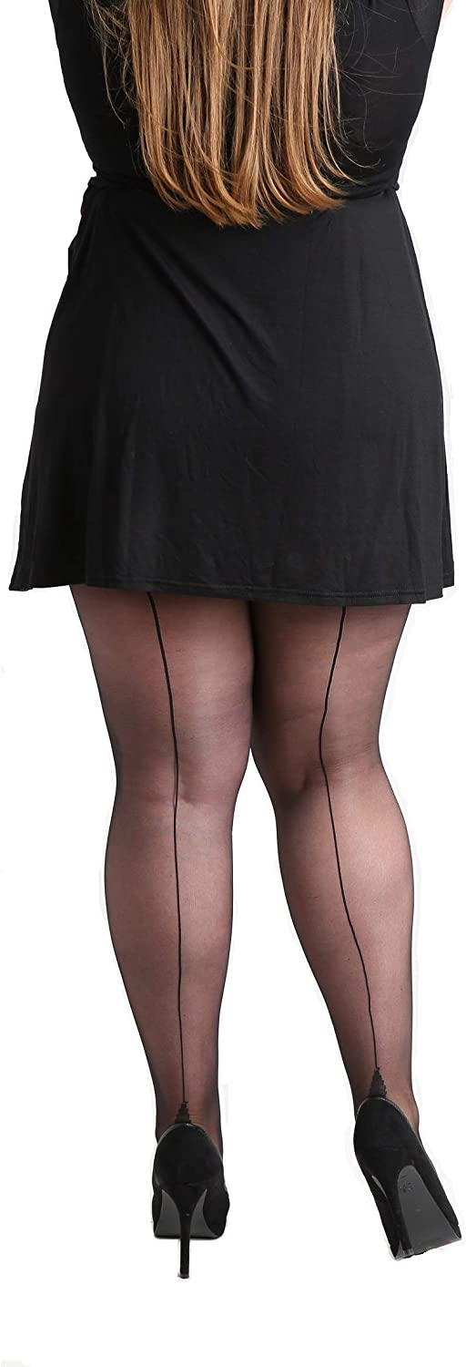 1920s Rolled Stockings & Trendy Tights Premium Plus Size Classic Seamed Sheer Denier Tights Black. Stripe Pantyhose for Large Sizes 12-30 [Made in Italy] $16.95 AT vintagedancer.com