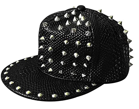Womens Mens Punk Rock Spike Studded Leather Cap Snake Skin Hip Hop Baseball  Hat ( f405937c802