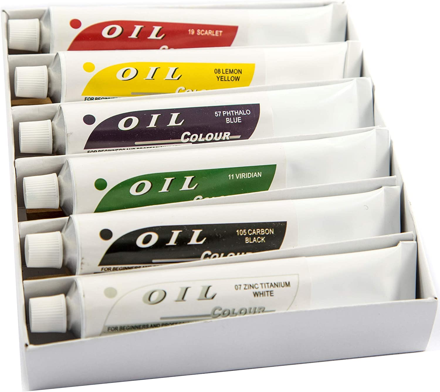 DAVELIOU Oil Paints Set – 60ml x 6 Color Paint Tubes – Painting Kit for Beginners Students and Artists
