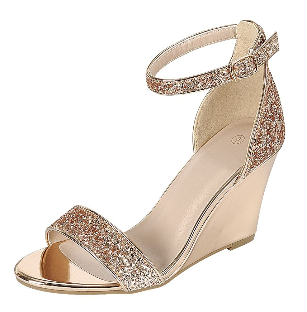 Women's Rose Gold Glitter Open Toe Strappy Ankle Buckle Band Dress Wedge Sandal