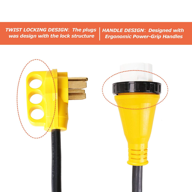 Trek Power RV Extension Cord 50Amp 30FT For Trailer Motorhome Camper with Grip Handle Plug, Locking Connector, Black by Trek Power (Image #3)