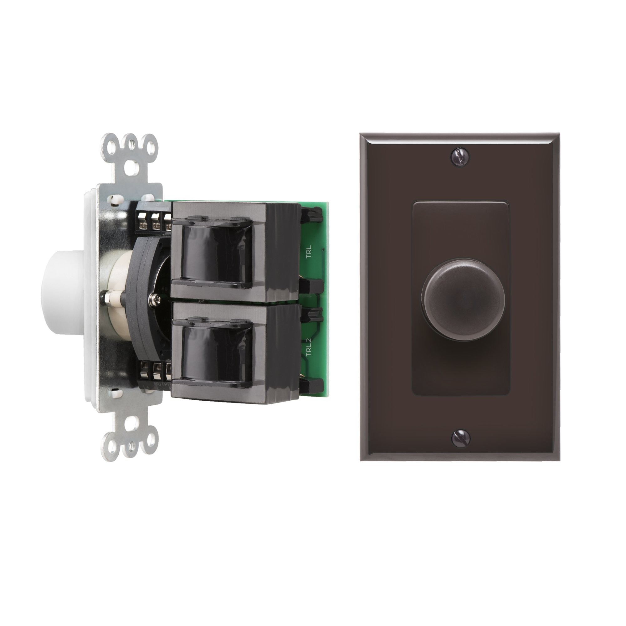 OSD Brown SVC300 Impedance Matching 100W In-Wall Rotary Knob Style Home Theater Speaker Volume Control Switchable Decora Plates