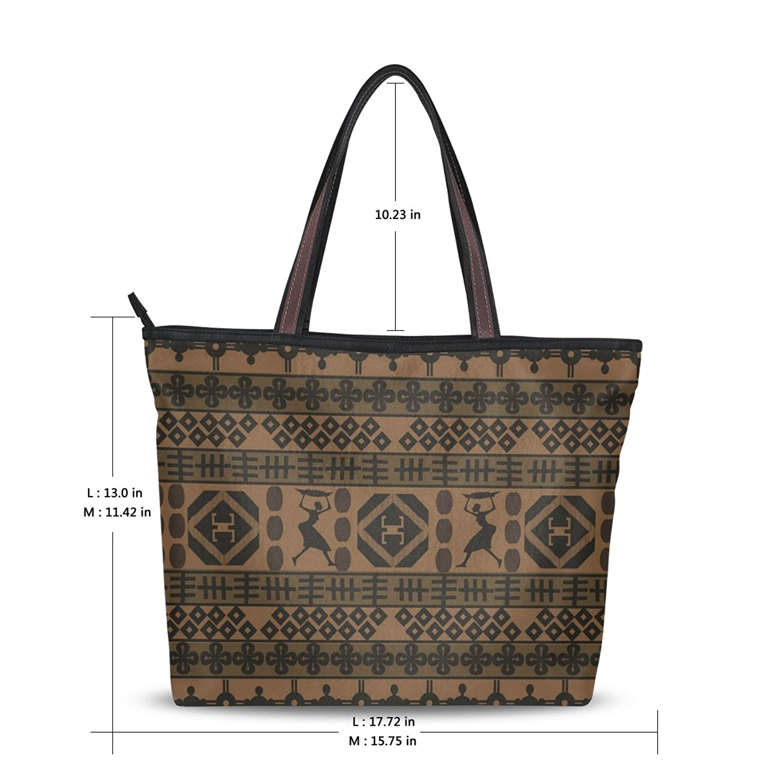 Senya Fashion Women's Handbag Microfiber Large Tote Shoulder Bag, Ethnic African Geometrically Elements