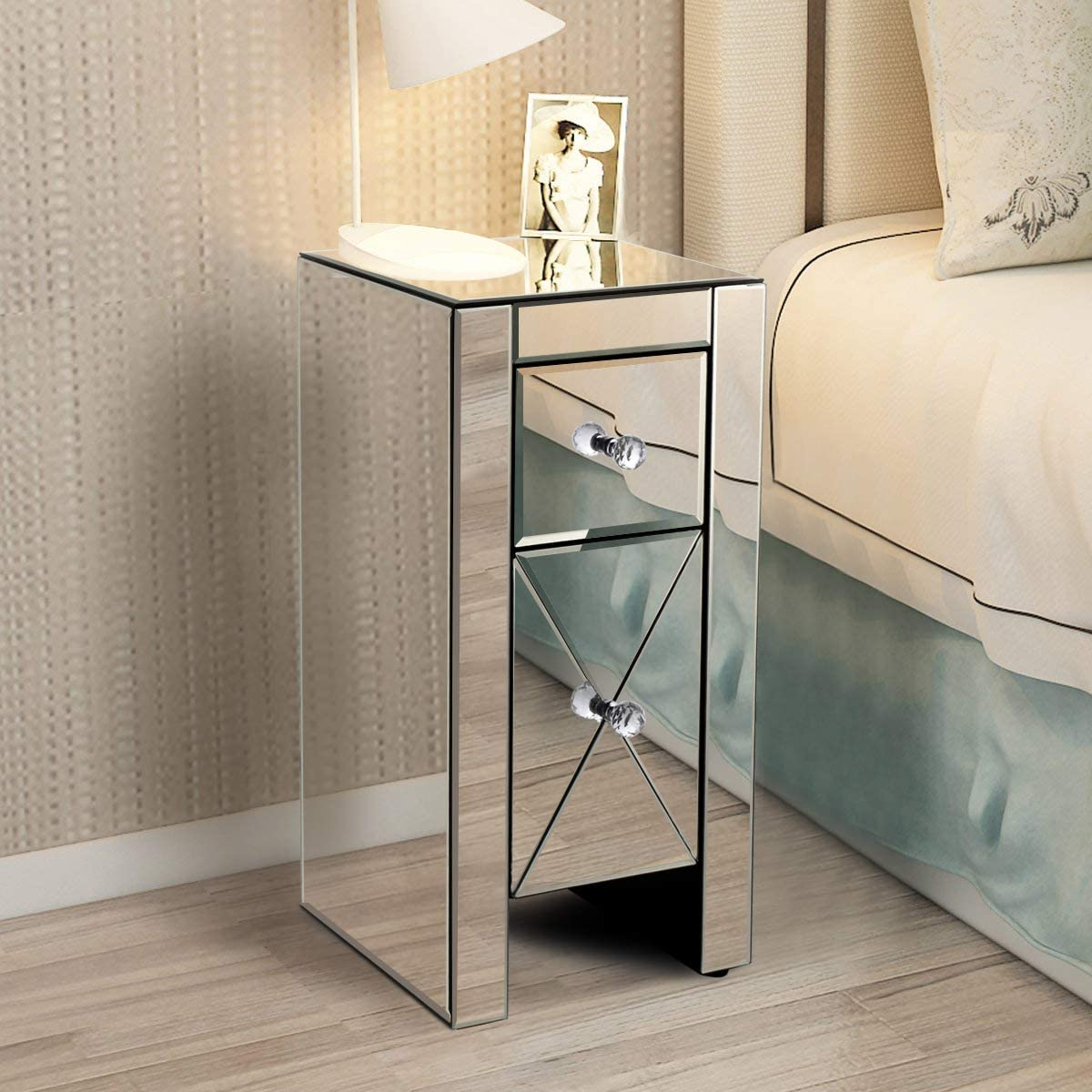 LAZYMOON Small Mirrored End Table 2-Drawer Nightstand Bedside Table Storage Accent Cabinet Silver