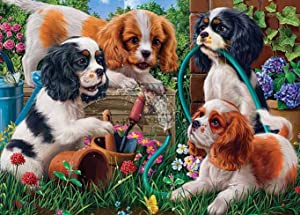 Cuneai DIY 5D Diamond Painting Garden Flowers by Number Kit, Round Diamond Art Dog Puppy Crystal Embroidery Cross Stitch Tool, for Home Wall Decoration and Handicrafts 30x40cm / 12x16inch