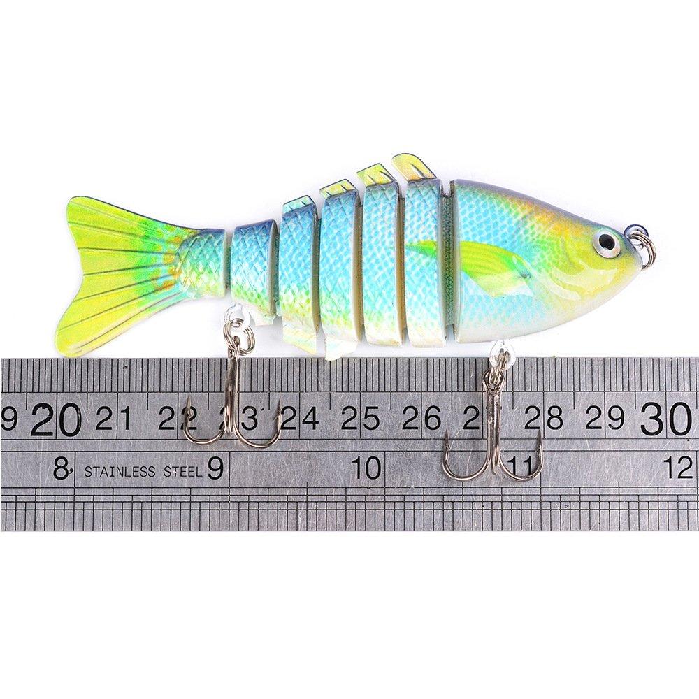 8 Colores aleatorios MKNzone 1 Multi-articul/ées 10 cm//15.61g Se/ñuelo de Pesca Realista de 7 Segmentos,2 anzuelos triples Cebo para Lucio