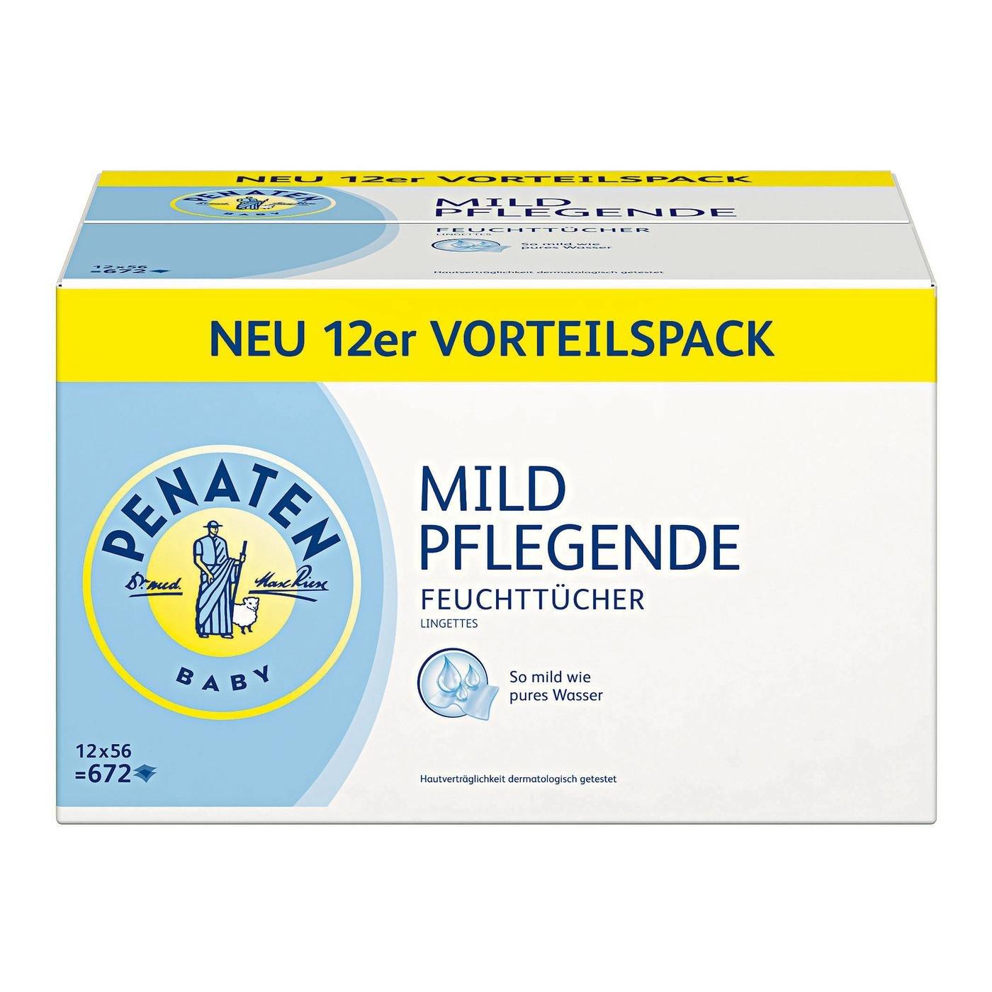 Penaten Mild Pflegende Feuchttücher Vorteilspack (Babypflegetücher ohne Alkohol) 15 x 56 Stück 94932