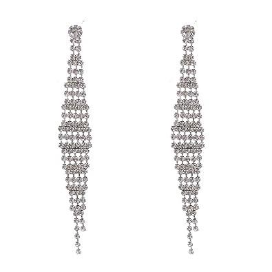 c34e7c8e3109 Amazon.com  Silver Crystal Rhinestone Dangle Multi Line Earrings  Jewelry