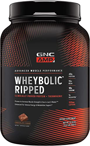 GNC AMP Wheybolic Ripped Whey Protein Powder – Chocolate Fudge, 22 Servings, Contains 40g Protein and 15g BCAA Per Serving