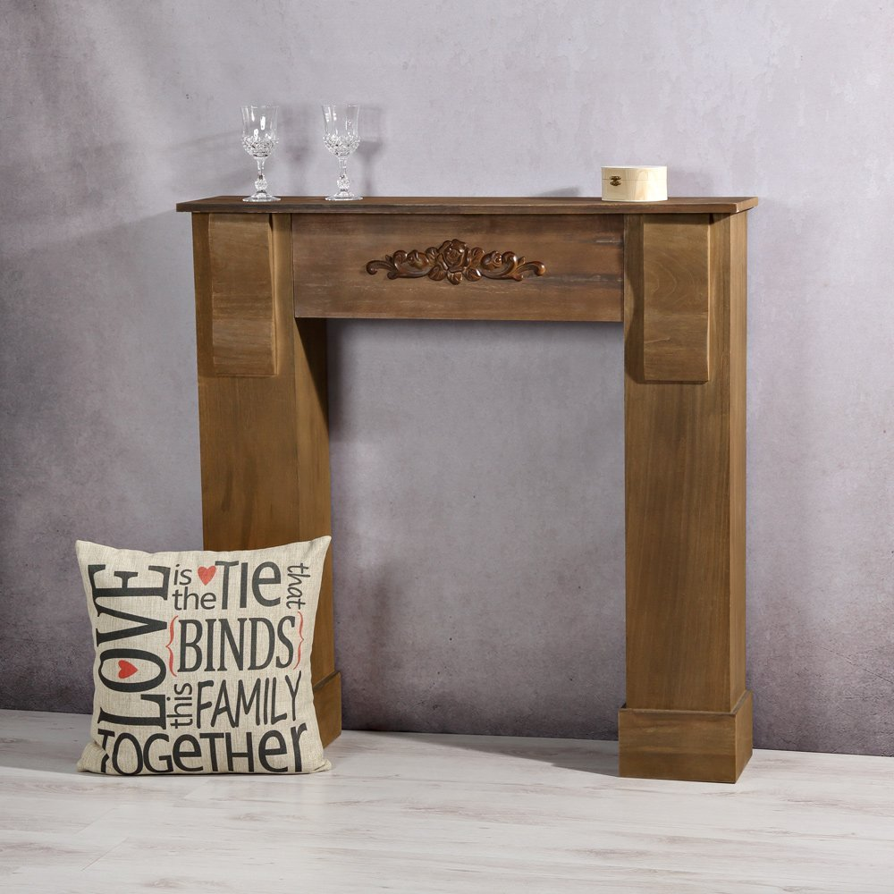 Melko® Kaminumrandung im Landhaus Stil - Deko Kaminumbau aus Holz ...