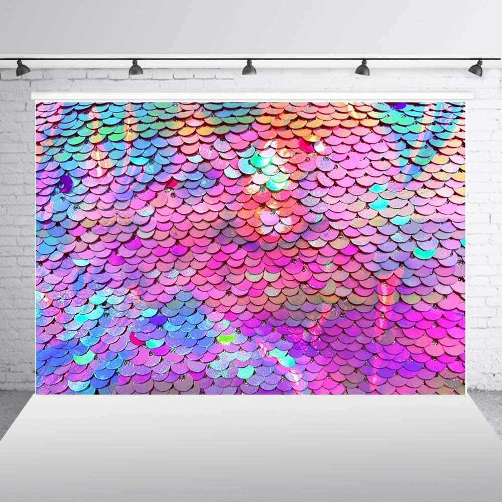 New Under The Sea Little Mermaid Scales Photography Backdrop for Pictures Girls Princess Birthday Party Purple Mint Green Sequins Fish Scales Baby Shower Decoration Photo Booth Props 150x150cm