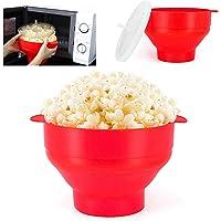 Microwave Popcorn Popper Bowl | Healthy Pop Corn |100% Silicone Popcorn Maker | Collapsible Popcorn Machine Maker | 100% BPA Free & Dishwasher safe | (Red)