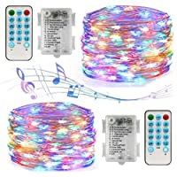 Led String Lights Battery Powered,[2 Pack] Music Fairy String Lights with12 Modes/Timer, Waterproof 100 LED 32.8ft Sound…