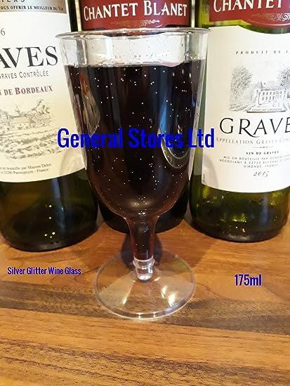 180 x claro plata glitter plástico desechables copas de vino – 175 ml – (2P