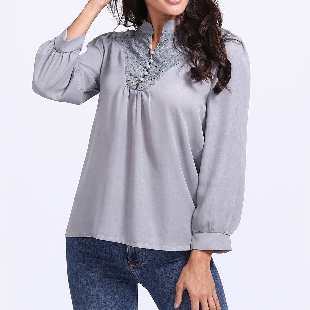 Clearance!Youngh Womens Blouses Plus Size Solid Elegant Lace Patchwork V-Neck Loose Long Sleeve Chiffon Casual Blouse T Shirt Tops: Amazon.com: Grocery ...