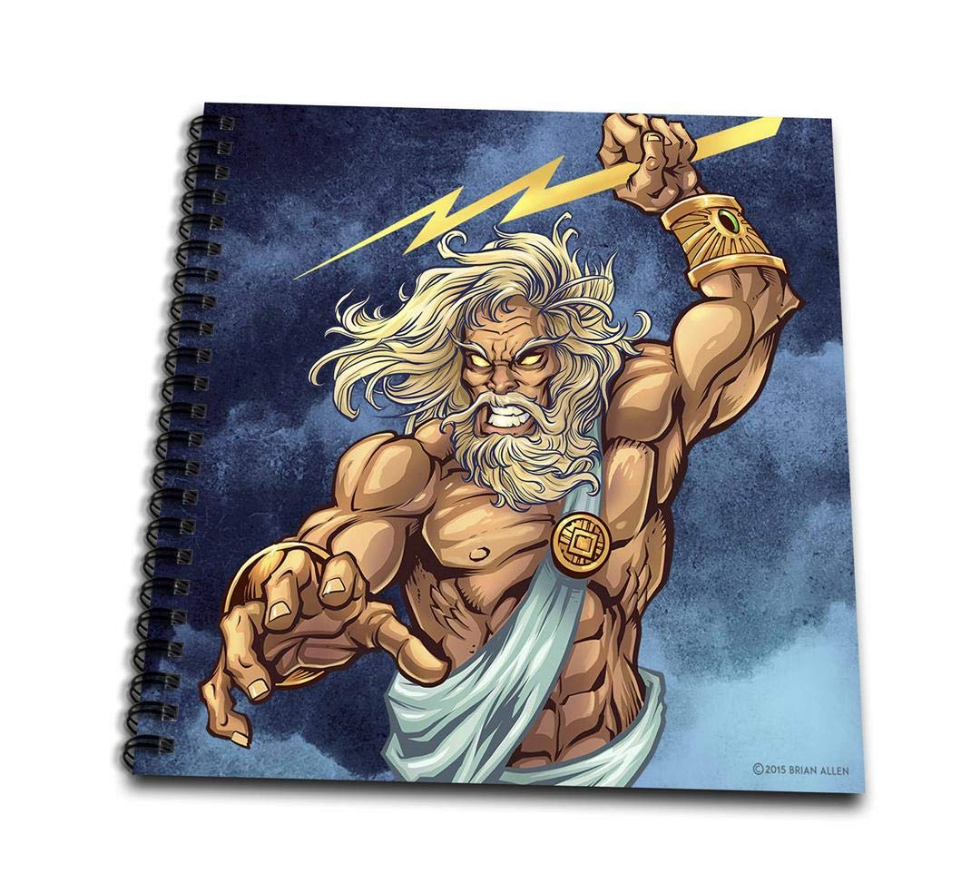 8 x 8 db/_252471/_1 3dRose Zeus Throwing A Lightning Bolt from A Stormy Sky Drawing Book
