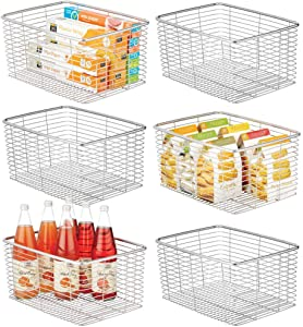 mDesign Farmhouse Decor Metal Wire Food Organizer Storage Bin Basket for Kitchen Cabinets, Pantry, Bathroom, Laundry Room, Closets, Garage - 6 Pack - Chrome