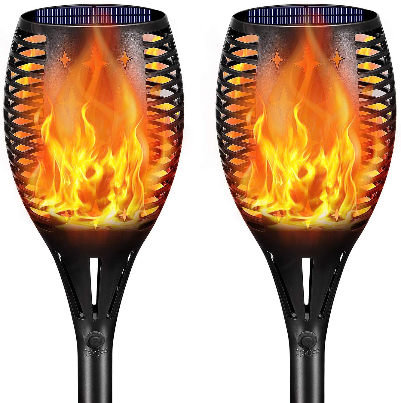 DeLight Solar Torch Lights, Waterproof Tiki Torches, Ourdoor Landscape Lighting 96 LED Dusk To Dawn Auto On/Off Security Torch Light (2 Pack) by DELight