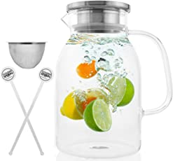 Glass Pitcher With Lid By Golden Spoon: Durable 60oz Glass Carafe With Airtight Cap - Microwave And Freezer Safe High Borosilicate Glass For Hot And Cold Liquids - Comes With 2 Stirrers And A Strainer