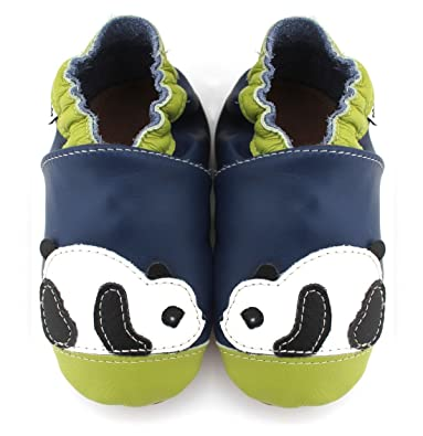 27edab6d9eb0c Meli Melo bio - Chaussons Cuir Souple Panda Bleu Vert  Amazon.fr ...