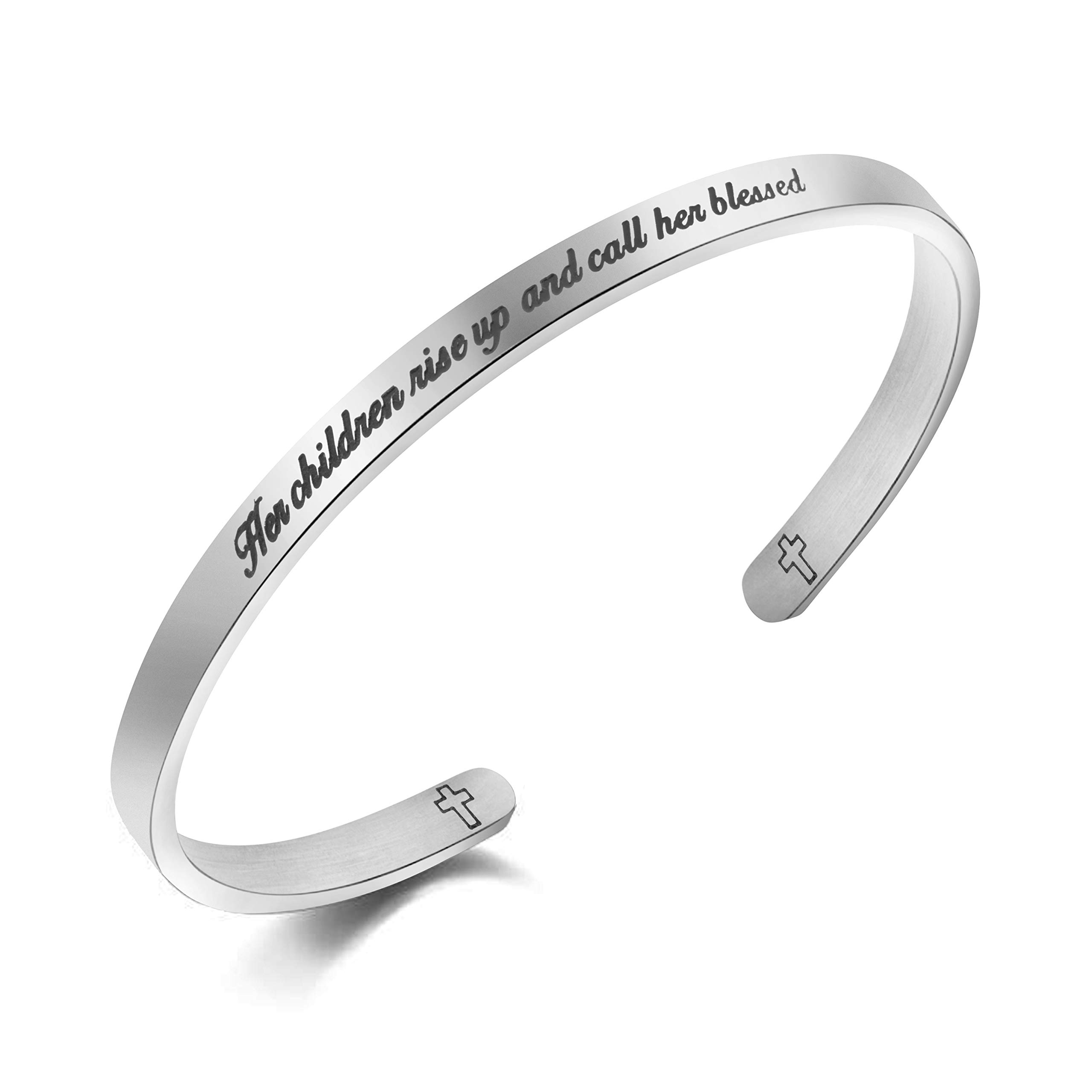 Gifts for Mom Bangle Bracelets for Mother Day Jewelry Stainless Steel''Her children rise up and call her blessed''