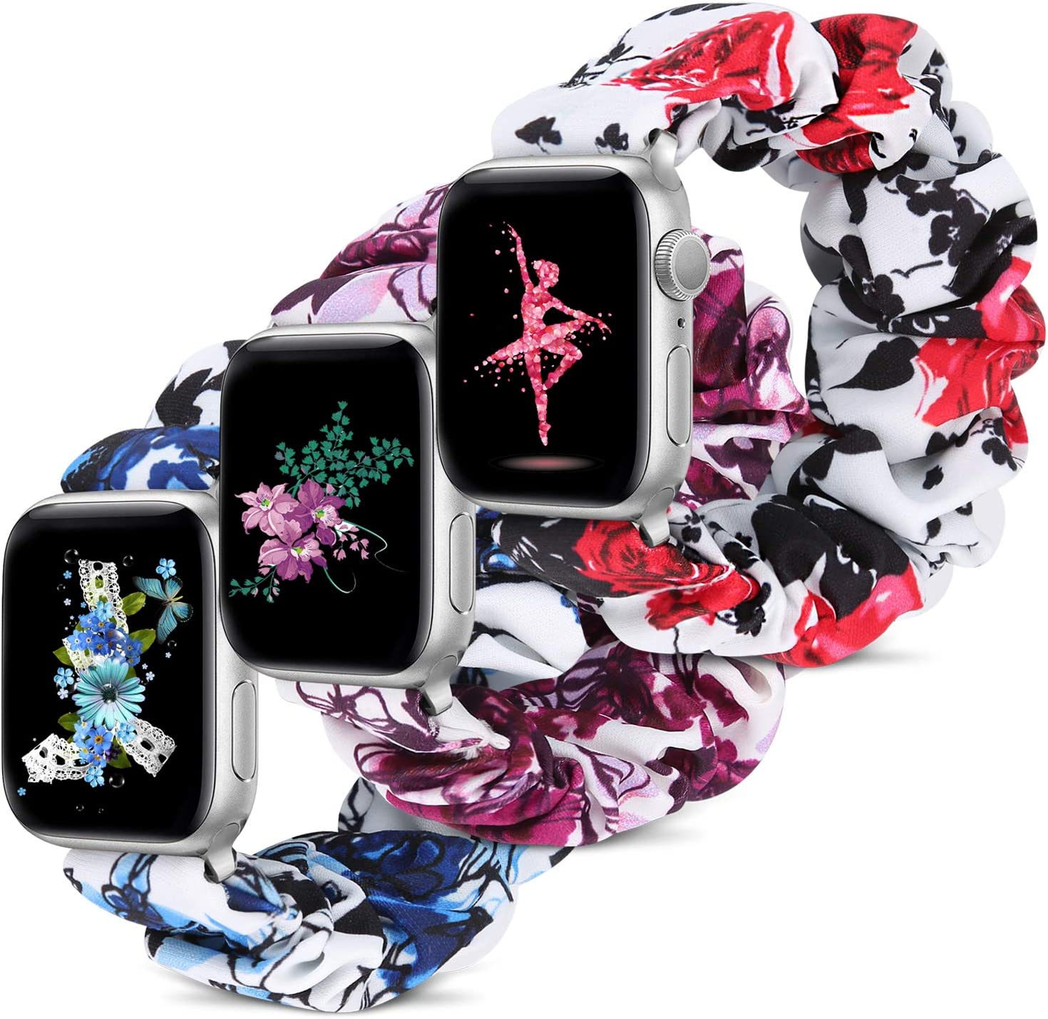 Compatible with Apple Watch Band 38mm 42mm 40mm 44mm iWatch Series 6 SE 5 4 3 2 1 Scrunchie Elastic Watch Band for Apple Watch(Rose+Blue Flower+Violet-38mm/40mm/S)