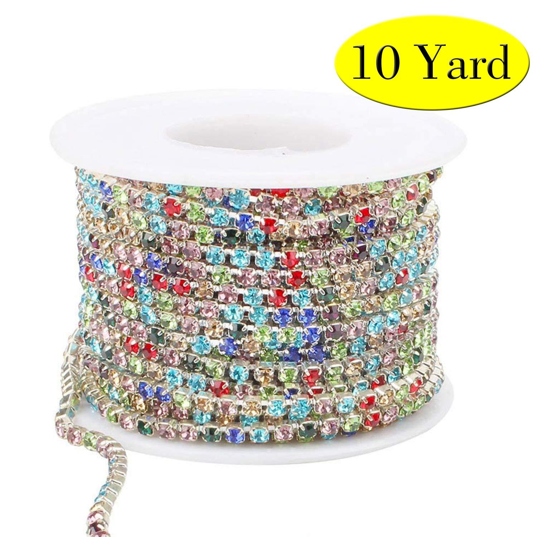 10Yard 2.8Mm Clear Crystal Rhinestone Chain Close Trim Cup Chain Bulk für Craft Jewelry Making (Multicolored)