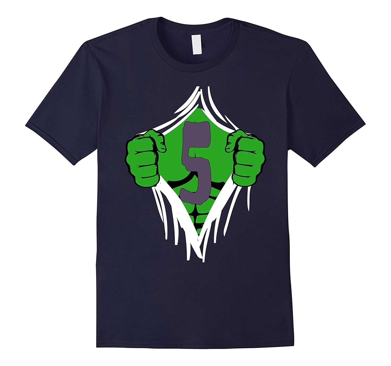 Green Man Chest Superhero Birthday Shirt For 5 Year Old