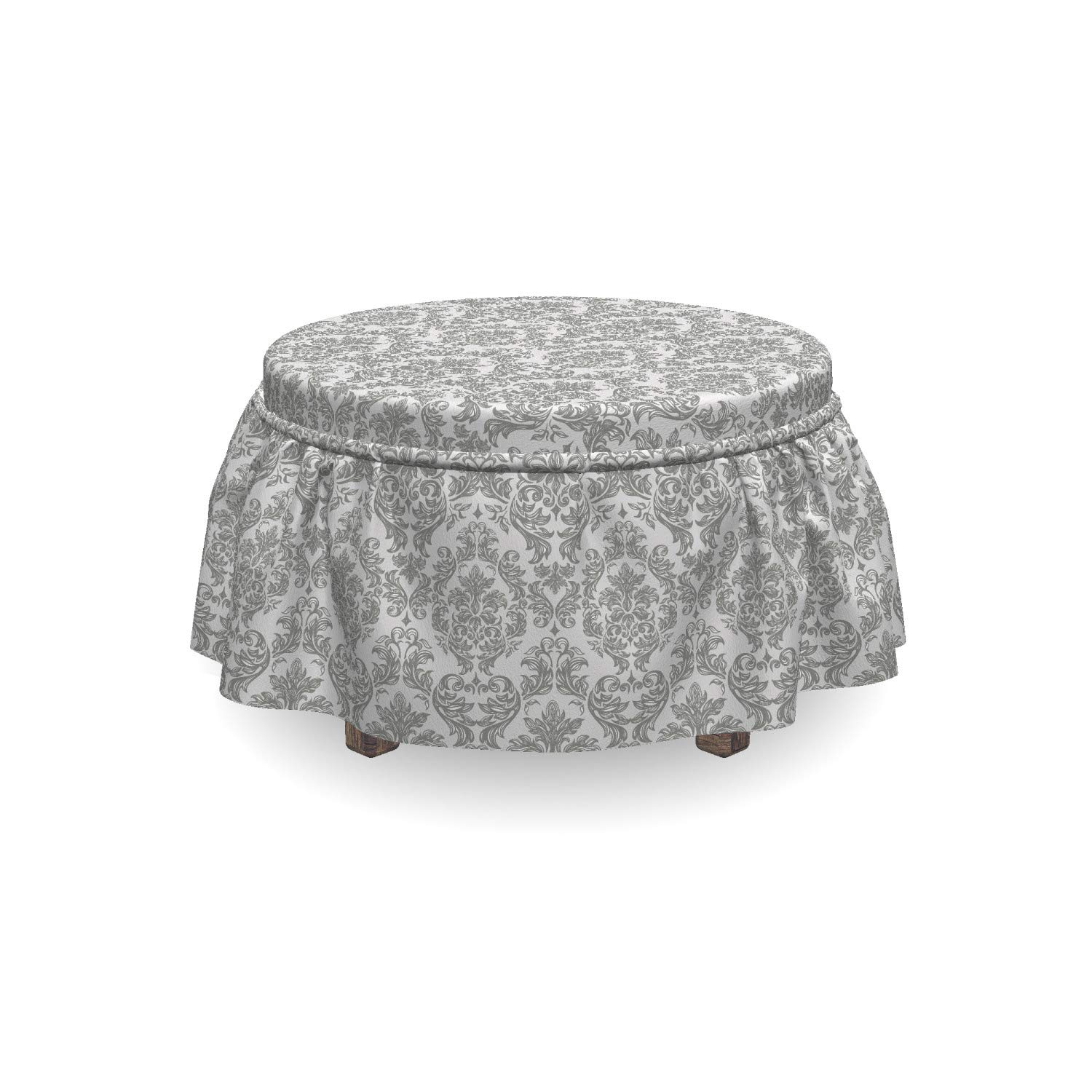 Grey Bulky Curvy Baroque Leaves 2 Piece Slipcover Set with Ruffle Skirt for Square Round Cube Footstool Decorative Home Accent Standard Size Lunarable Damask Ottoman Cover