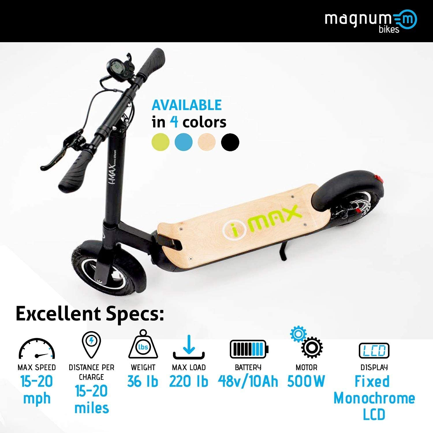 Magnum Premium S1+ Adult Electric Scooter - 500W, Large Capacity 48V/10A Lithium Battery - Easy Fold-n-Carry Design (Natural Wood)